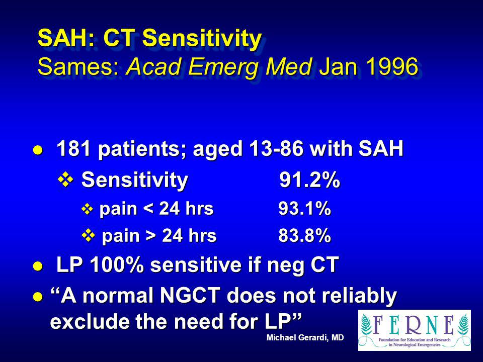 SAH: CT Sensitivity Sames: Acad Emerg Med Jan 1996