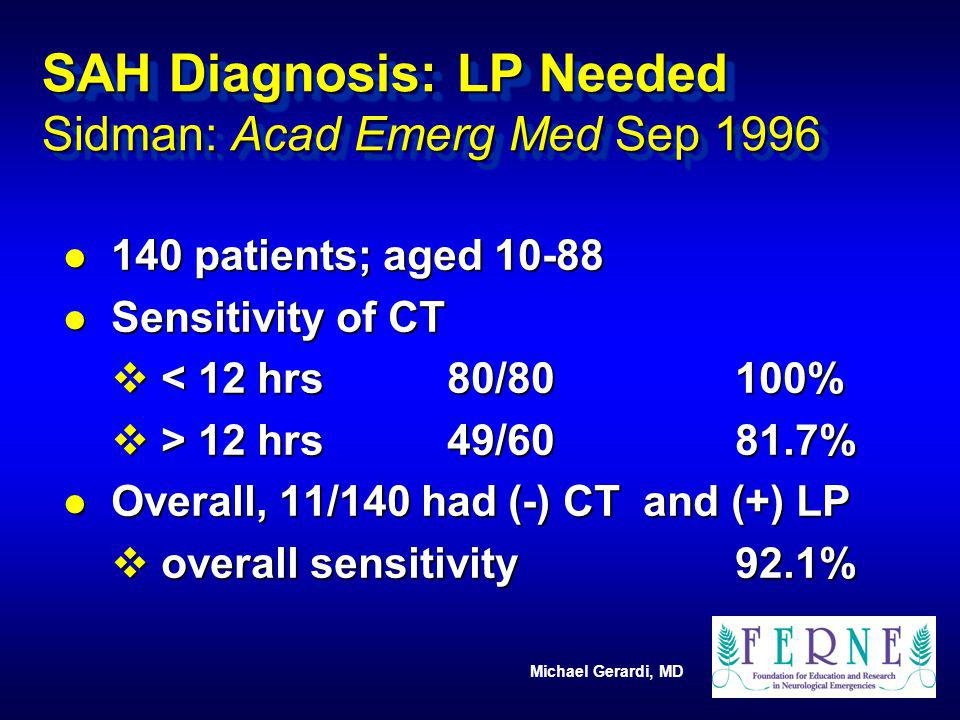 SAH Diagnosis: LP Needed Sidman: Acad Emerg Med Sep 1996