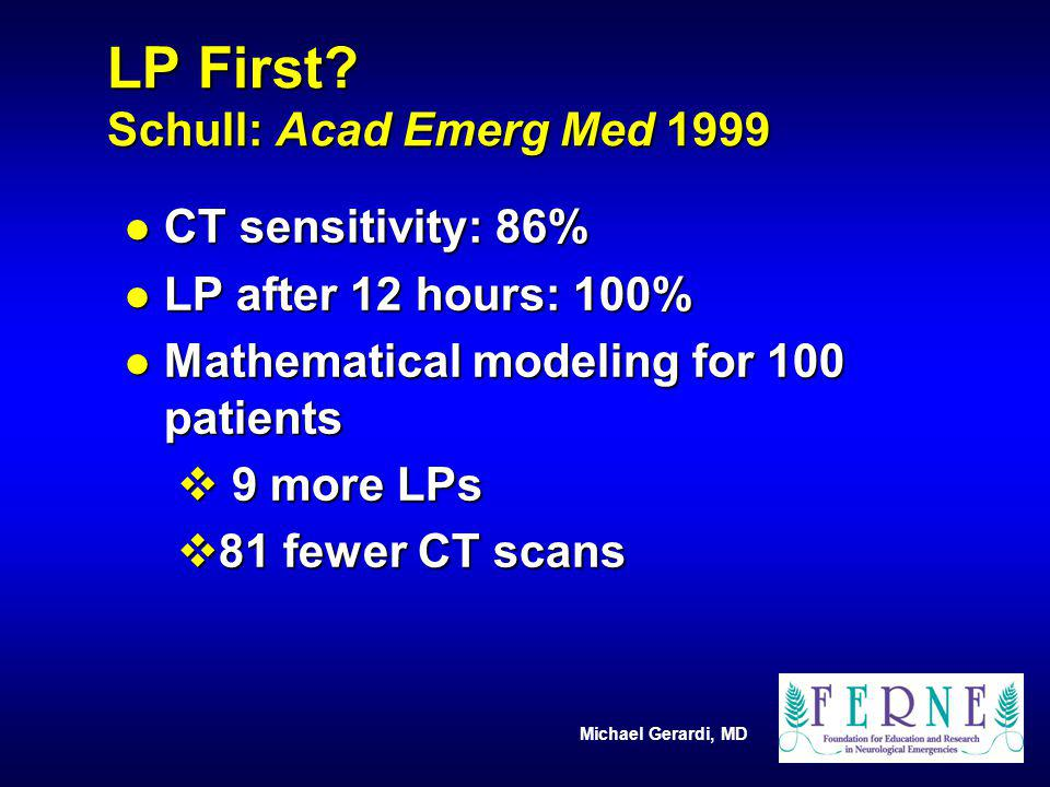 LP First Schull: Acad Emerg Med 1999
