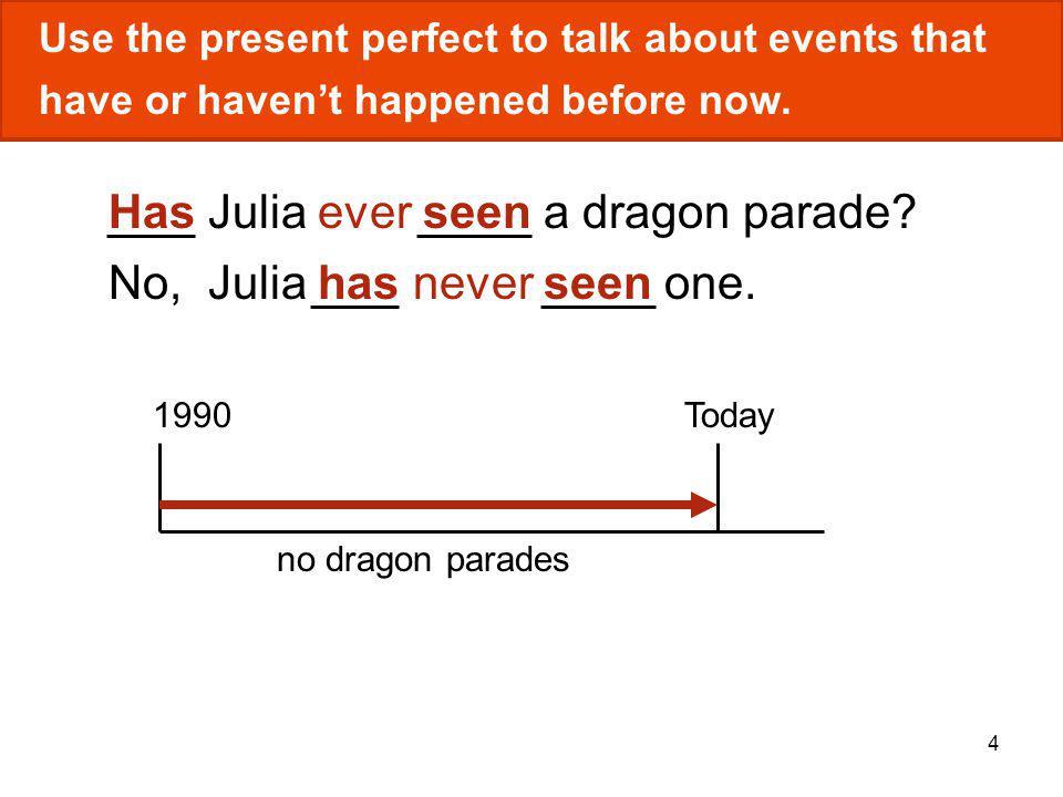Has Julia ever seen a dragon parade