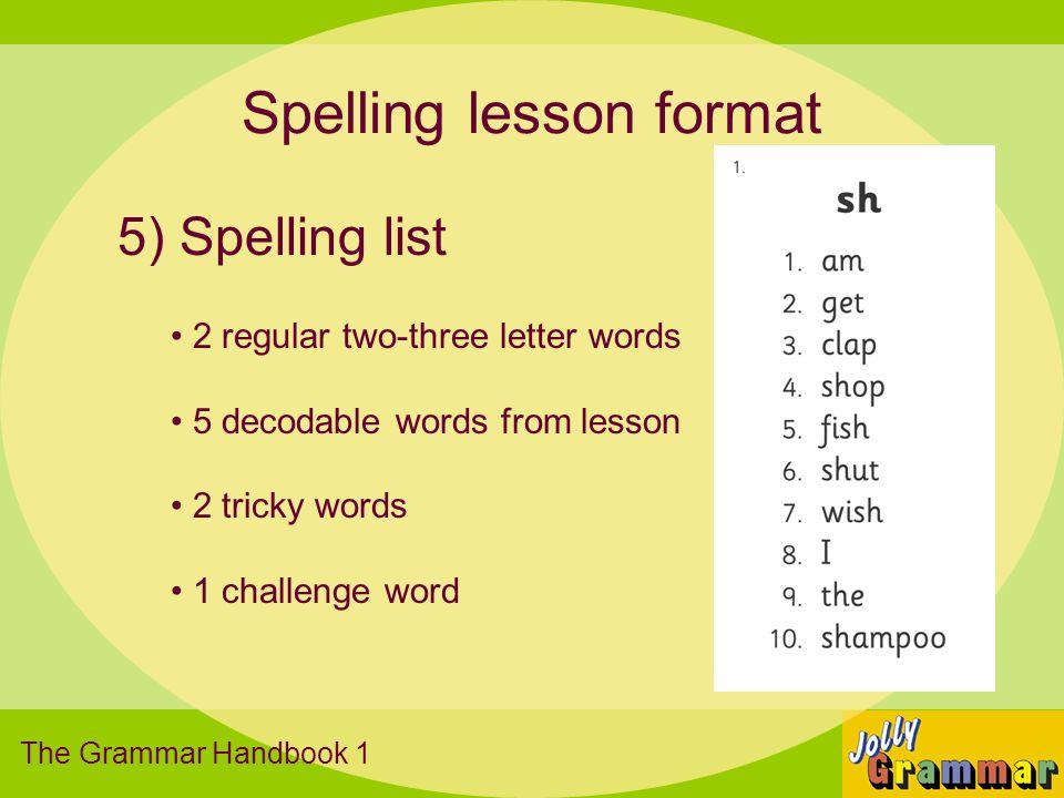 Spelling lesson format