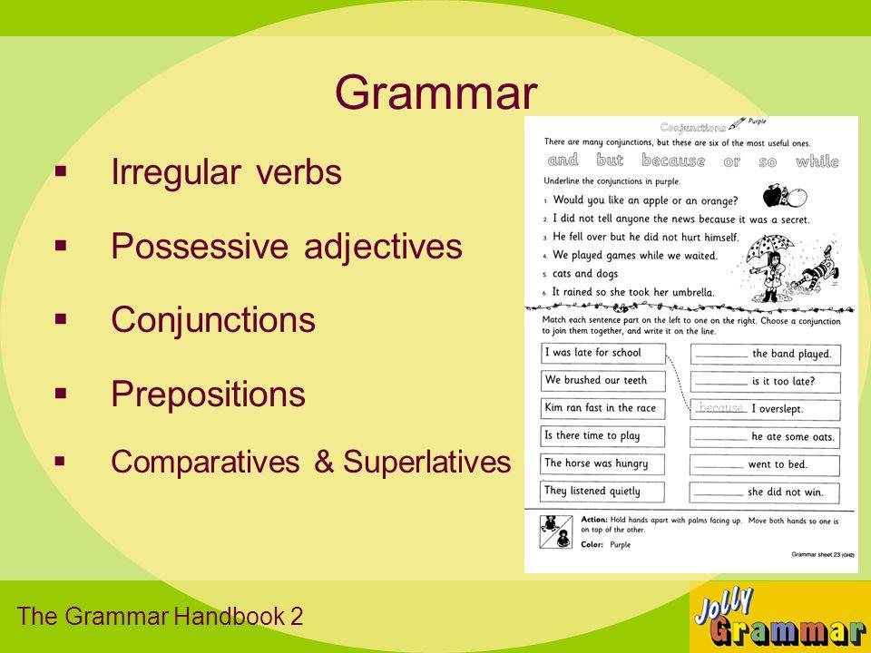 Grammar Irregular verbs Possessive adjectives Conjunctions