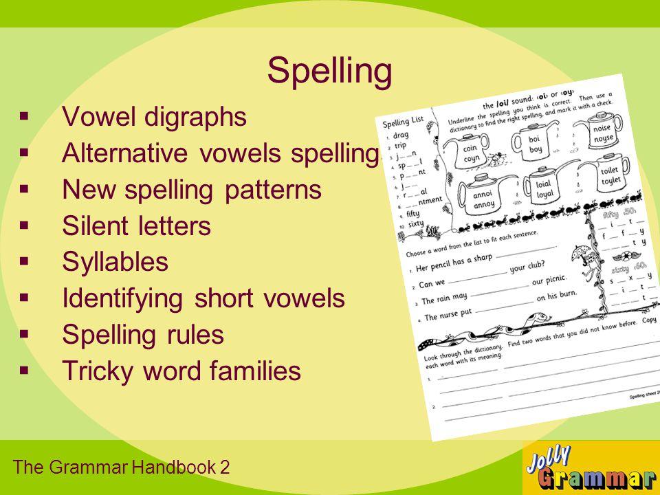Spelling Vowel digraphs Alternative vowels spellings