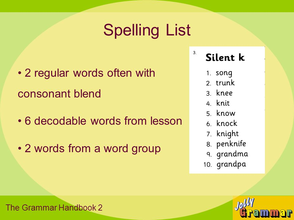 Spelling List 2 regular words often with consonant blend