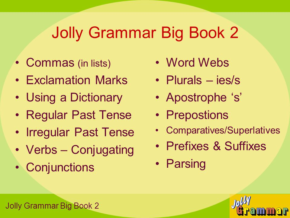 Jolly Grammar Big Book 2 Commas (in lists) Exclamation Marks