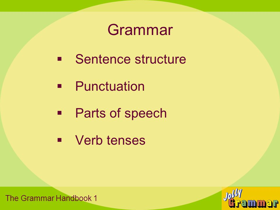 Grammar Sentence structure Punctuation Parts of speech Verb tenses