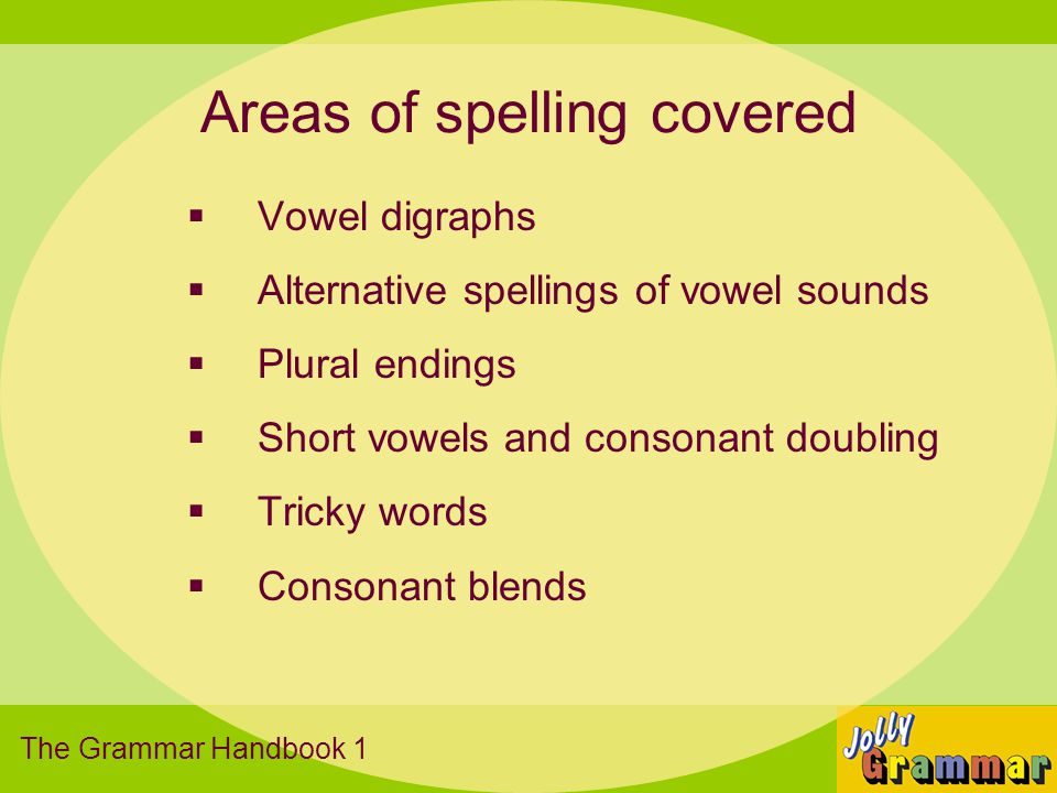 Areas of spelling covered