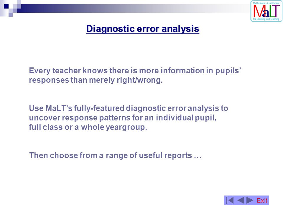 Diagnostic error analysis