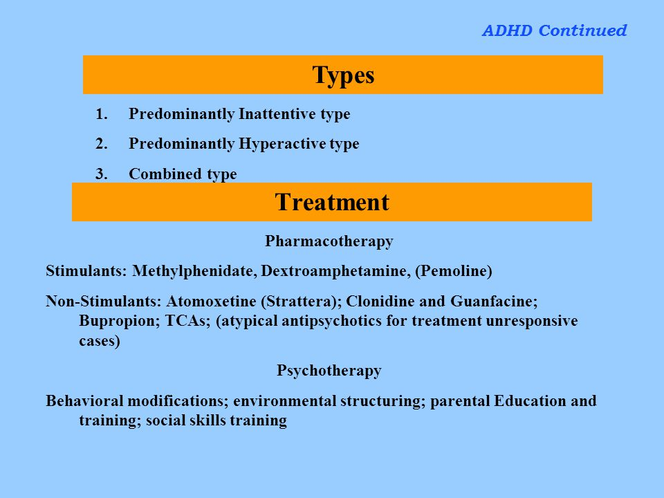 Types Treatment ADHD Continued Predominantly Inattentive type