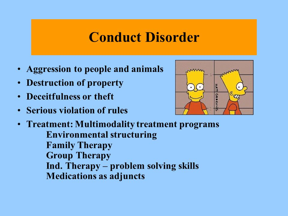 Conduct Disorder Aggression to people and animals