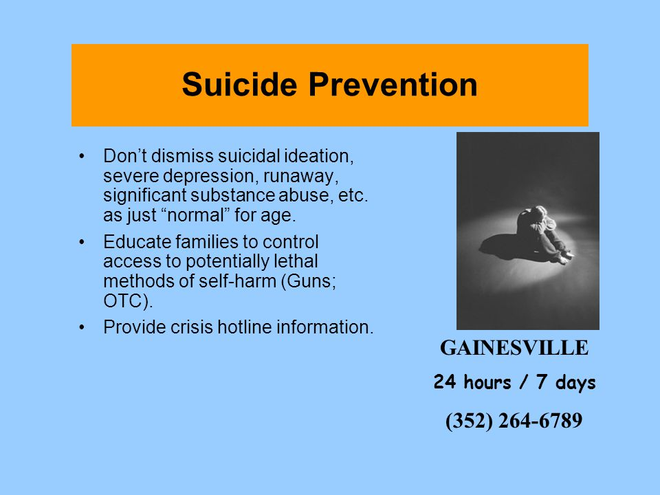 Suicide Prevention GAINESVILLE (352) 264-6789