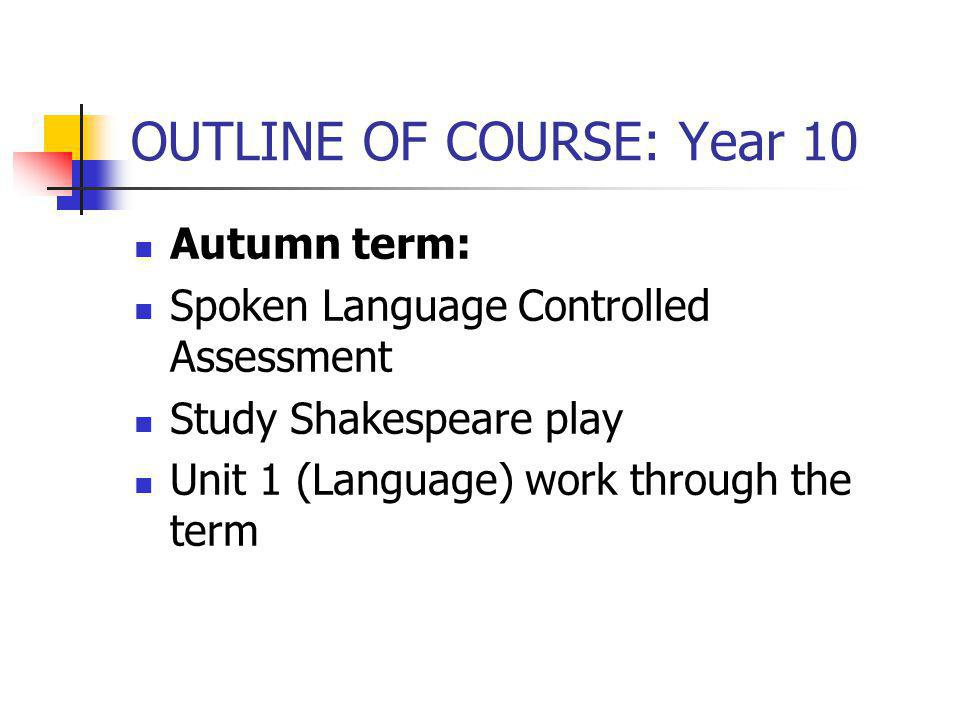 OUTLINE OF COURSE: Year 10