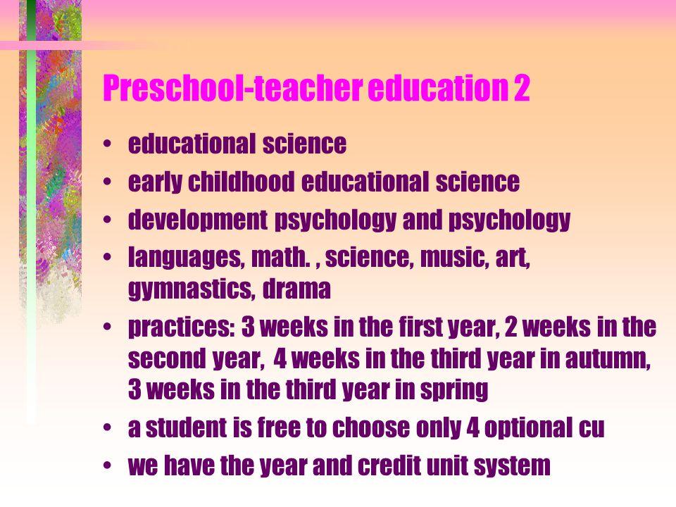 Preschool-teacher education 2