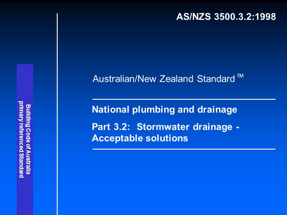 primary referenced Standard Building Code of Australia