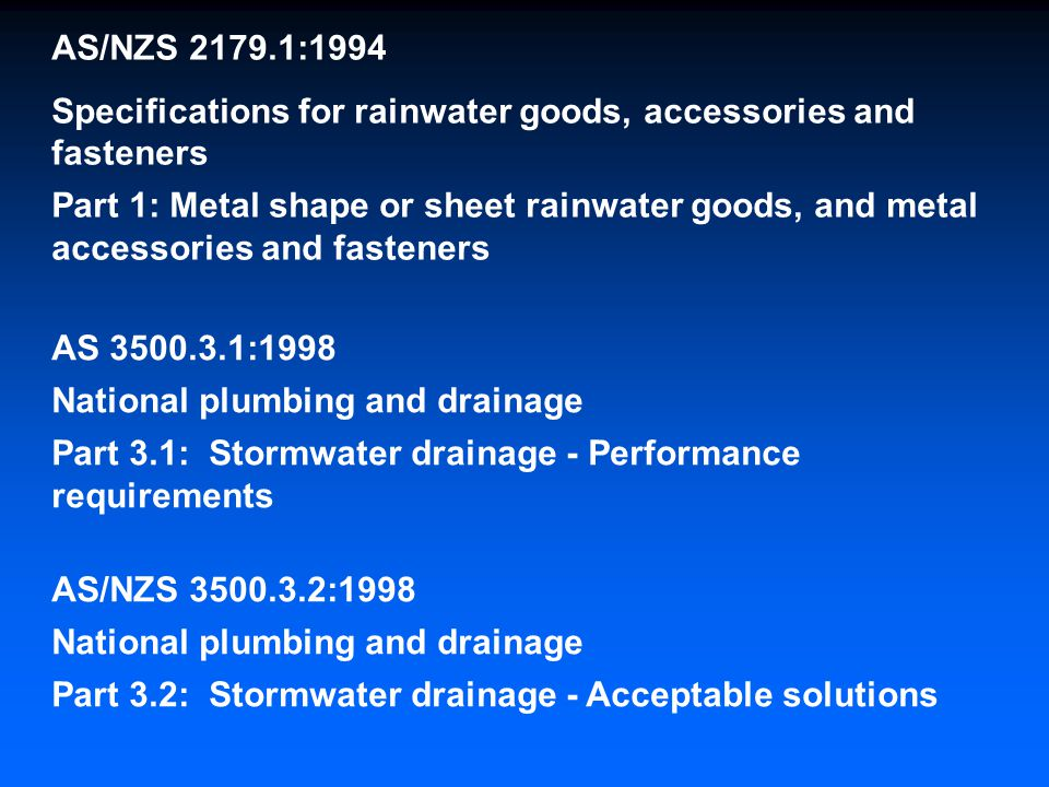 AS/NZS :1994 Specifications for rainwater goods, accessories and fasteners.