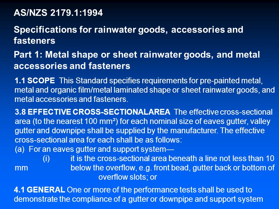 Specifications for rainwater goods, accessories and fasteners