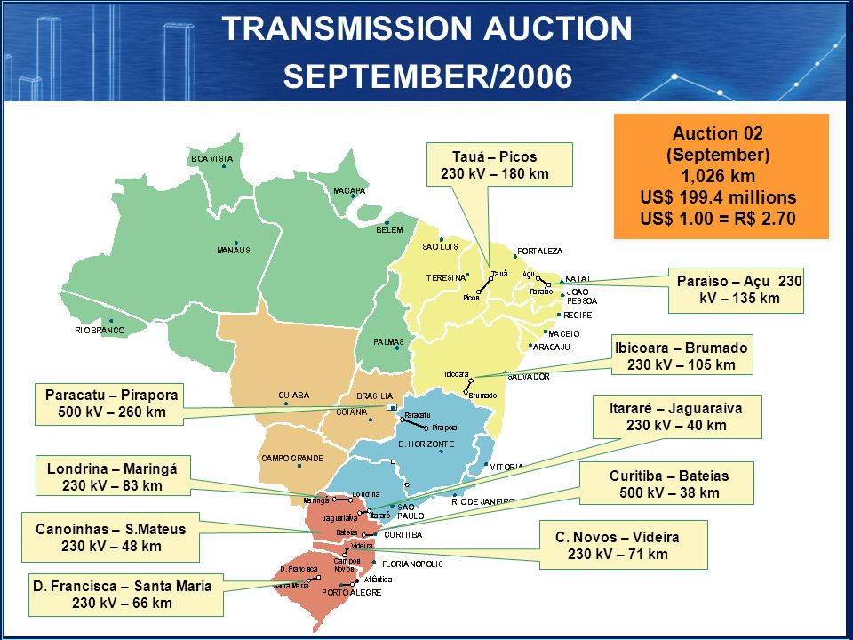 TRANSMISSION AUCTION SEPTEMBER/2006