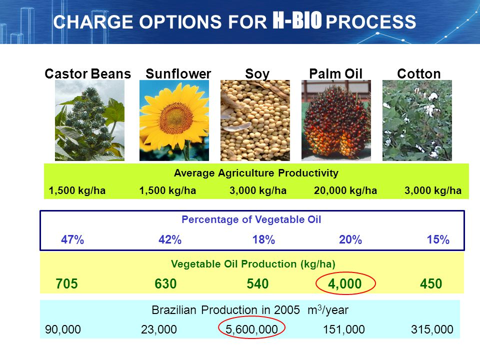 CHARGE OPTIONS FOR H-BIO PROCESS
