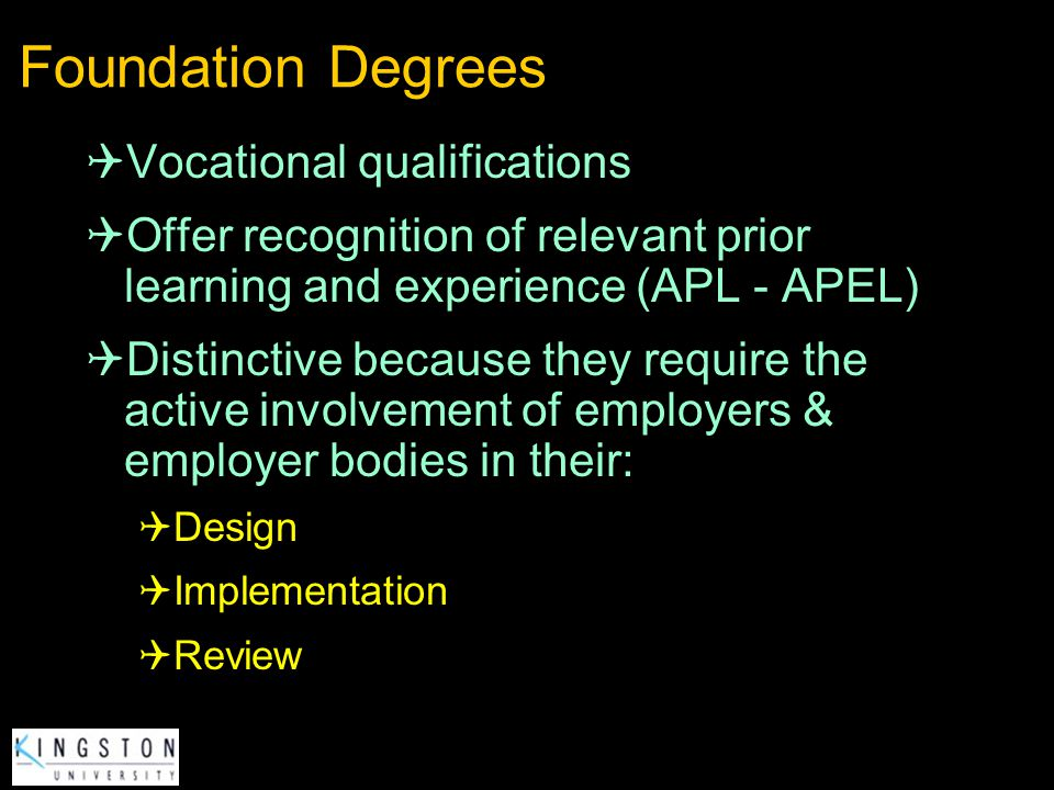 Foundation Degrees Vocational qualifications