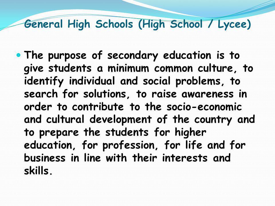 General High Schools (High School / Lycee)