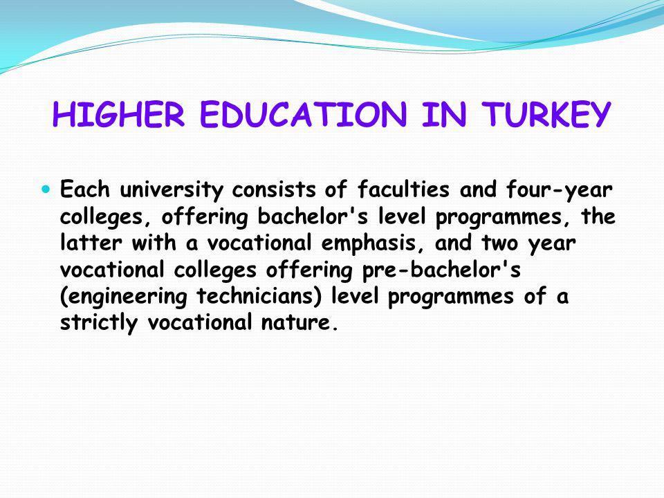 HIGHER EDUCATION IN TURKEY