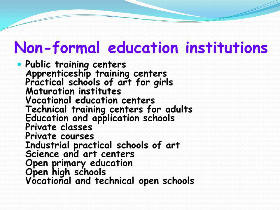 Non-formal education institutions
