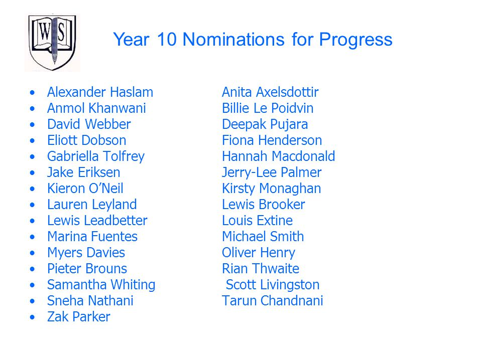 Year 10 Nominations for Progress