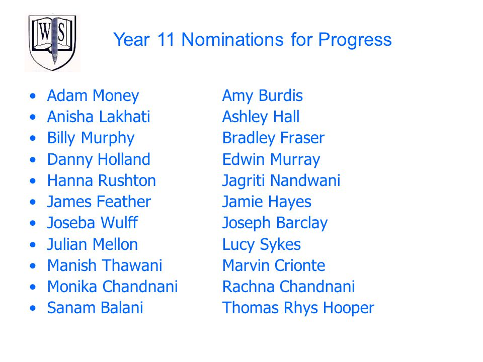 Year 11 Nominations for Progress