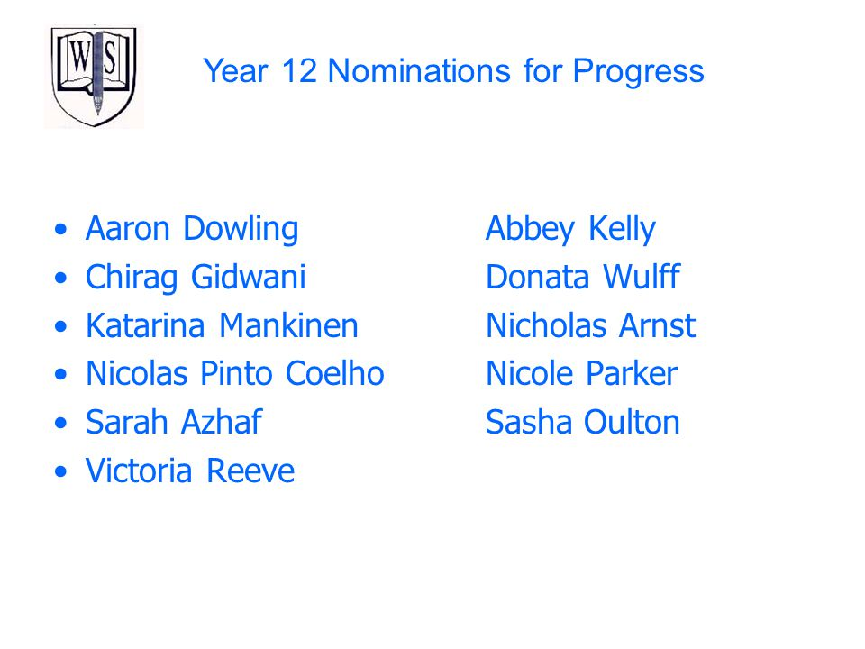 Year 12 Nominations for Progress