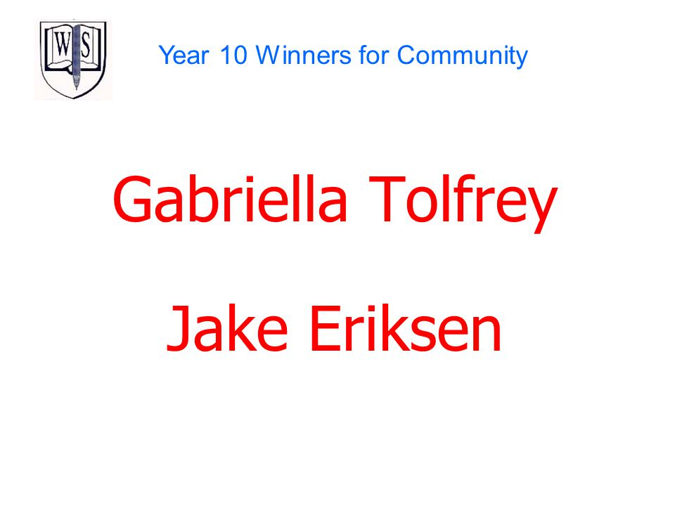 Year 10 Winners for Community