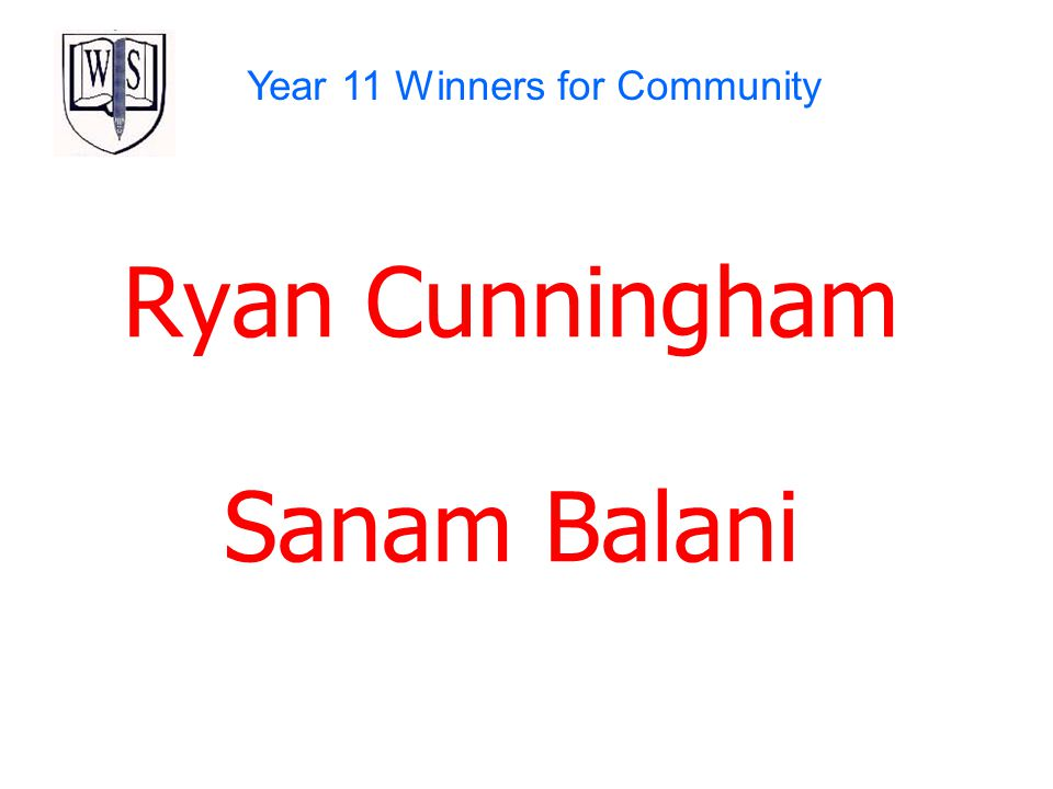 Year 11 Winners for Community