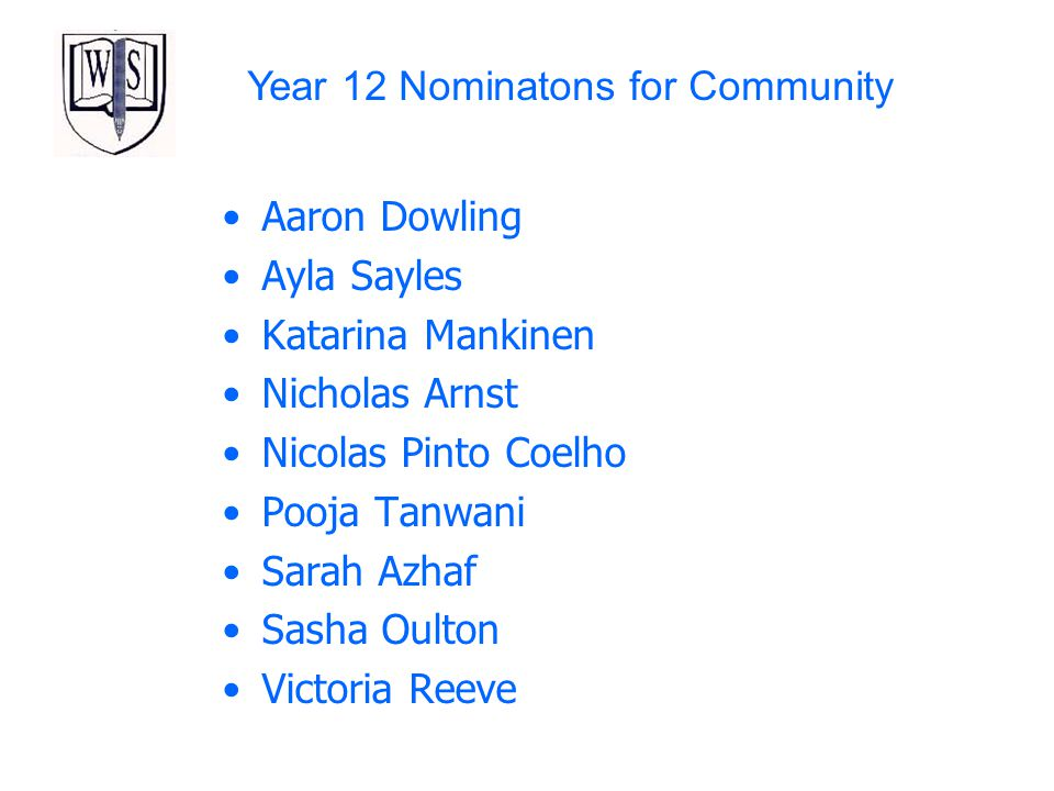 Year 12 Nominatons for Community