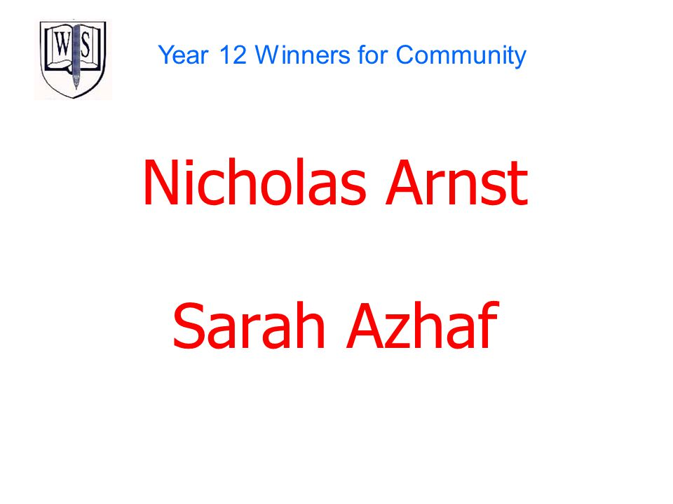 Year 12 Winners for Community