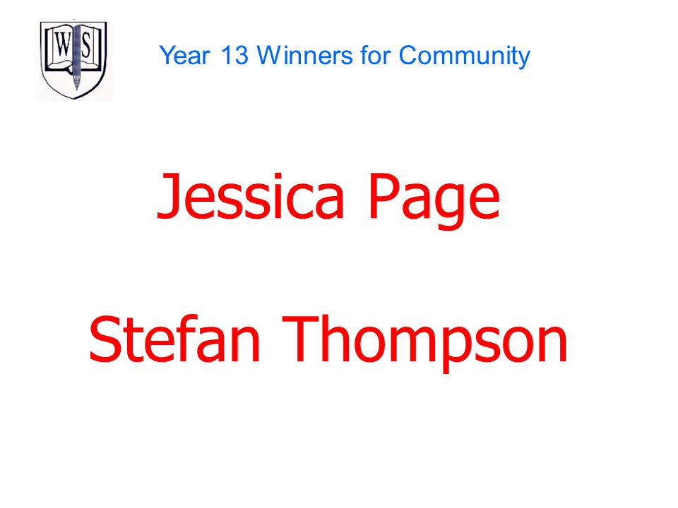 Year 13 Winners for Community