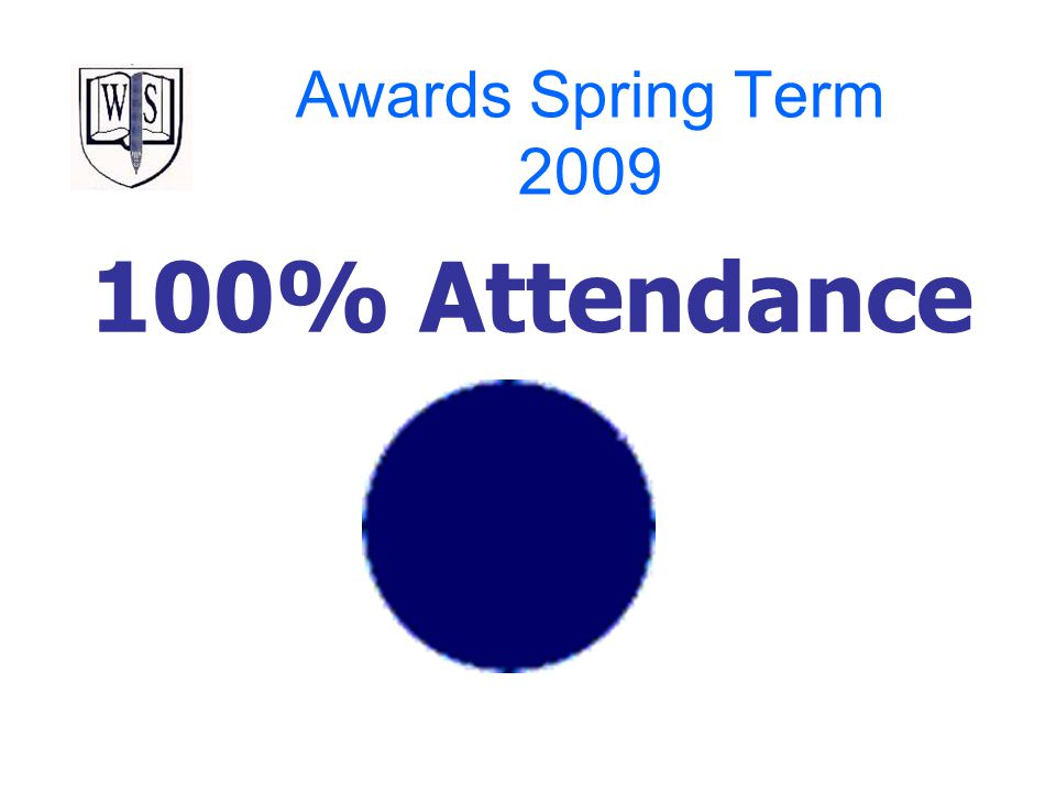 Awards Spring Term 2009 100% Attendance