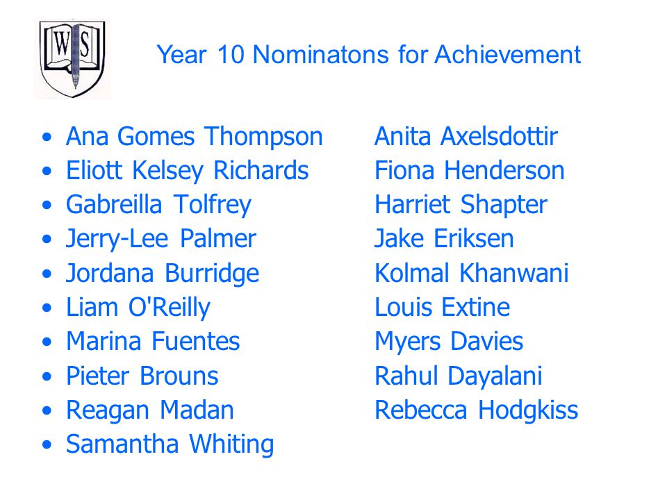 Year 10 Nominatons for Achievement