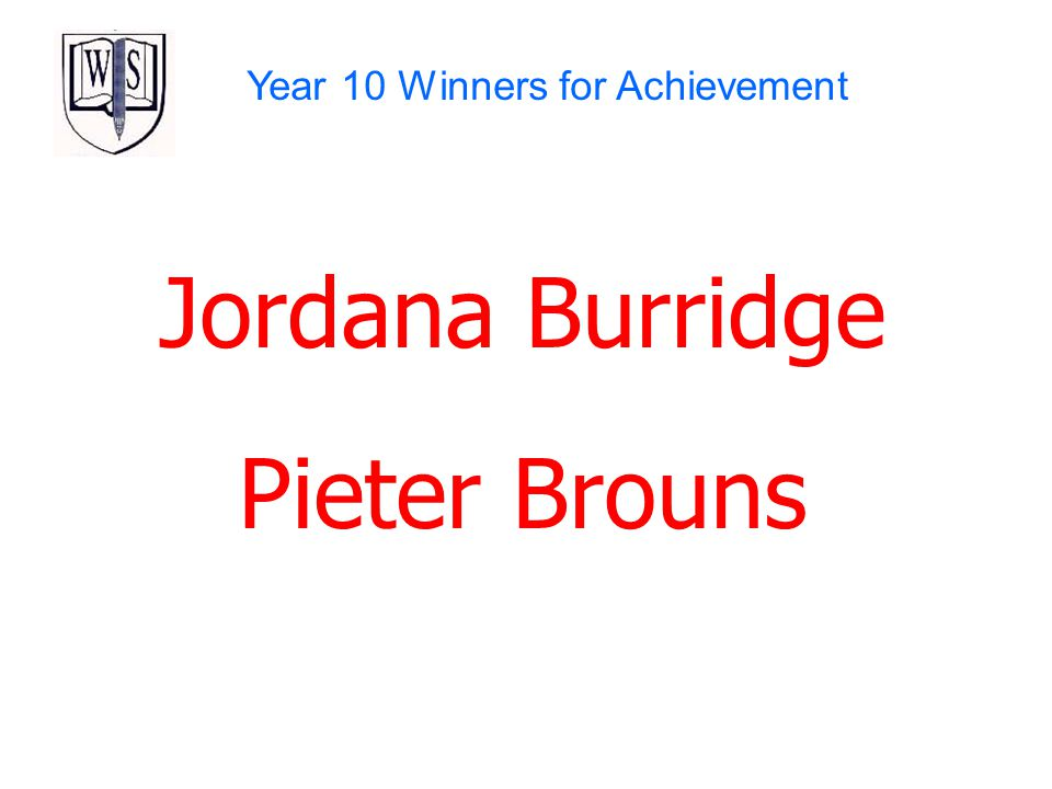 Year 10 Winners for Achievement