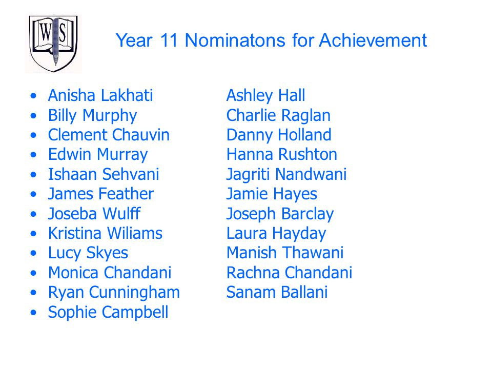 Year 11 Nominatons for Achievement