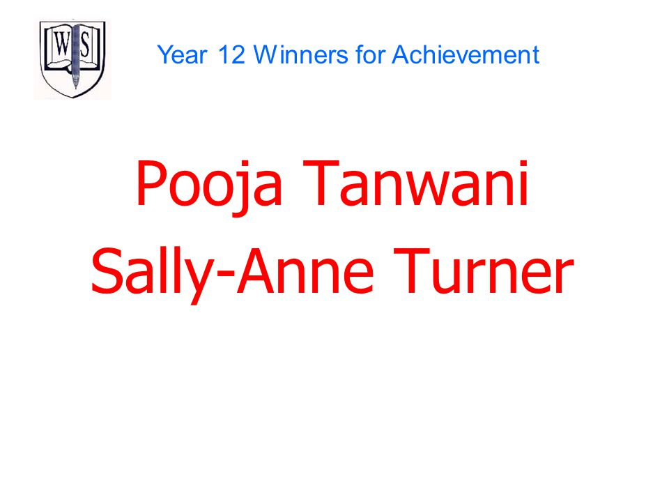 Year 12 Winners for Achievement