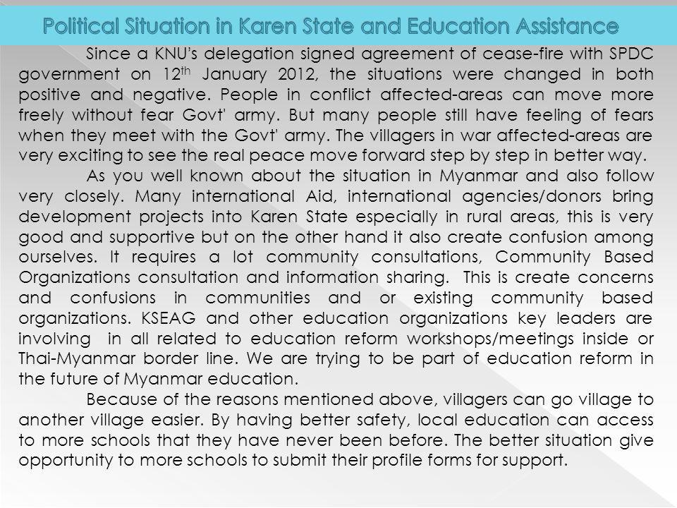 Political Situation in Karen State and Education Assistance