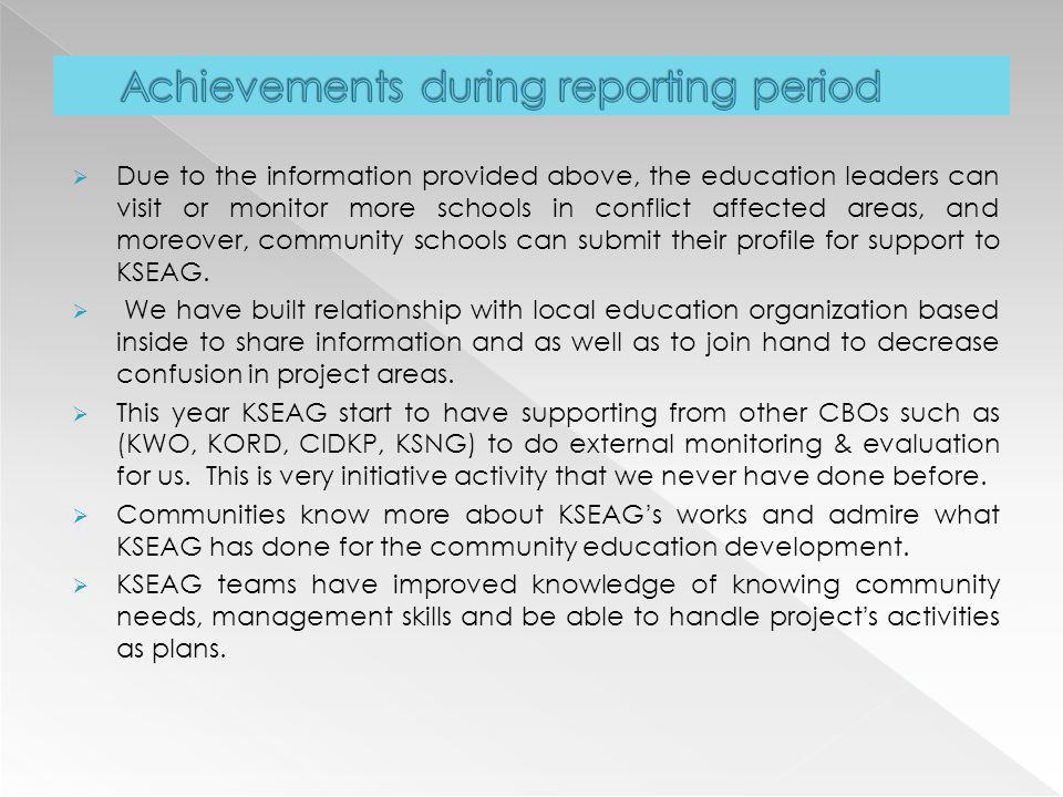 Achievements during reporting period