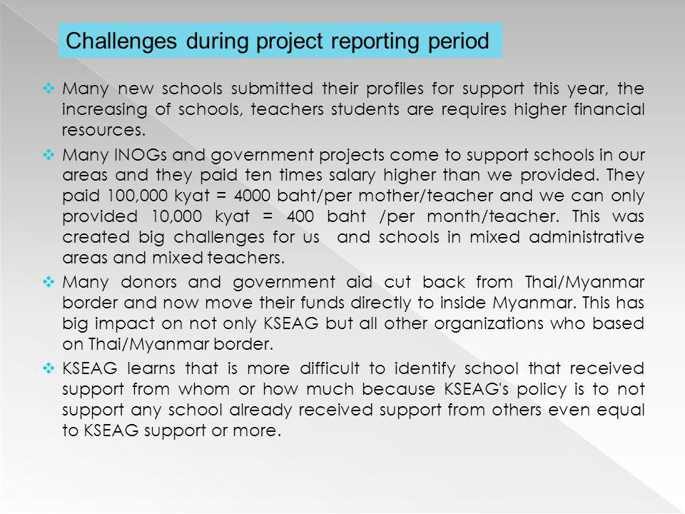 Challenges during project reporting period