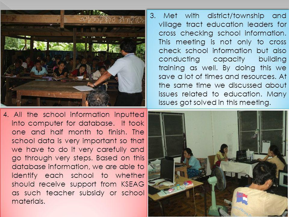 3. Met with district/township and village tract education leaders for cross checking school information. This meeting is not only to cross check school information but also conducting capacity building training as well. By doing this we save a lot of times and resources. At the same time we discussed about issues related to education. Many issues got solved in this meeting.