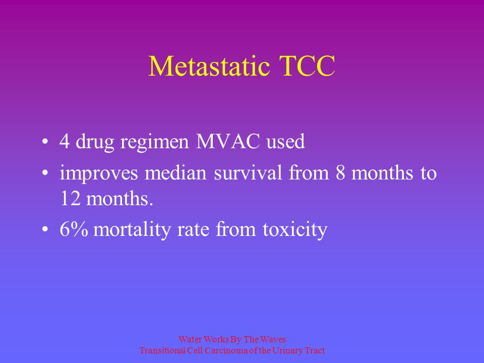 Metastatic TCC 4 drug regimen MVAC used