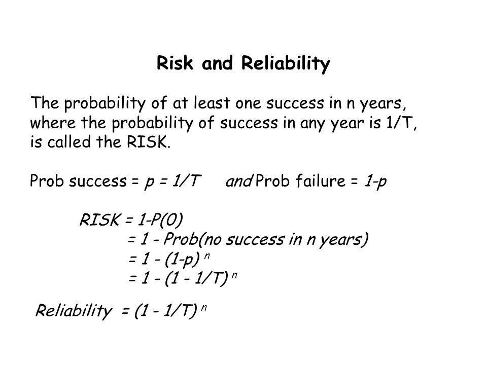 Risk and Reliability The probability of at least one success in n years, where the probability of success in any year is 1/T,