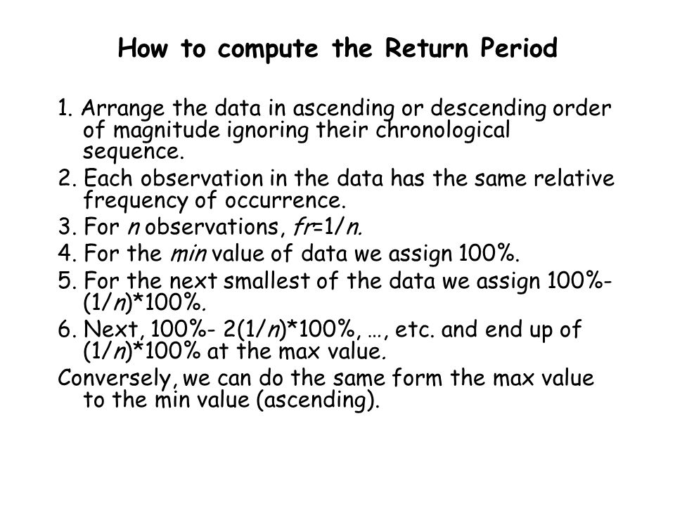 How to compute the Return Period