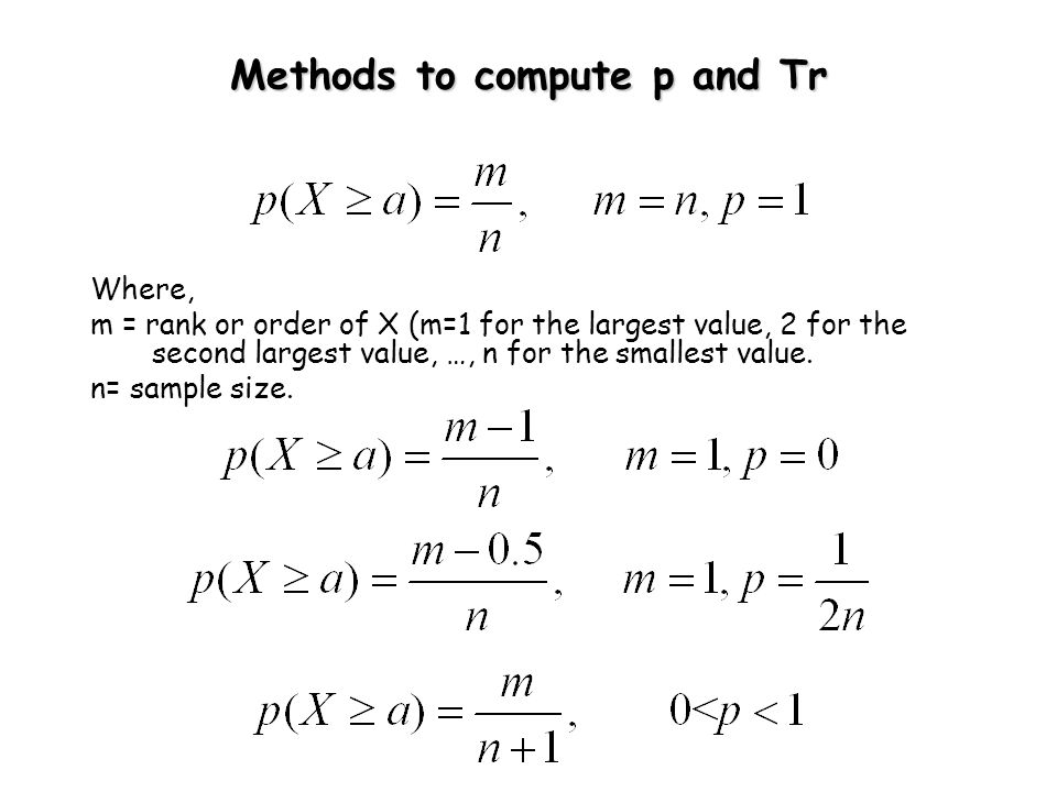 Methods to compute p and Tr