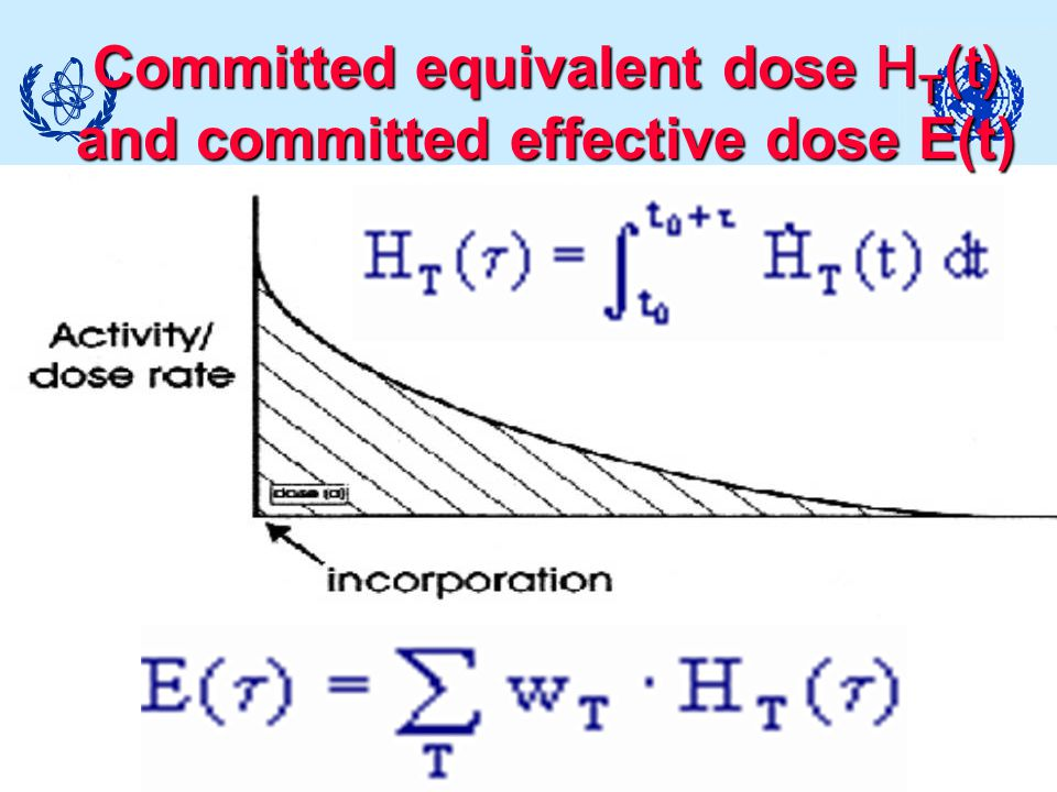 Committed equivalent dose HT(t) and committed effective dose E(t)