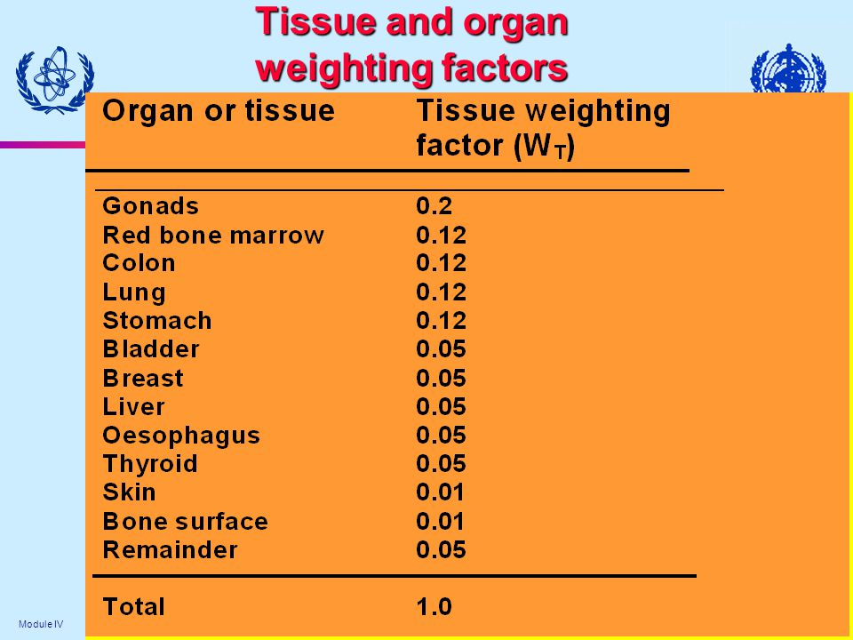 Tissue and organ weighting factors