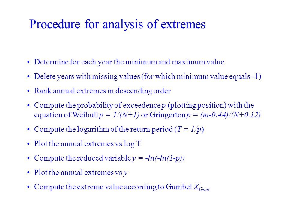 Procedure for analysis of extremes